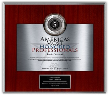 Awarded American Registry: America's Most Honored Professionals Top 5% 2016 Award
